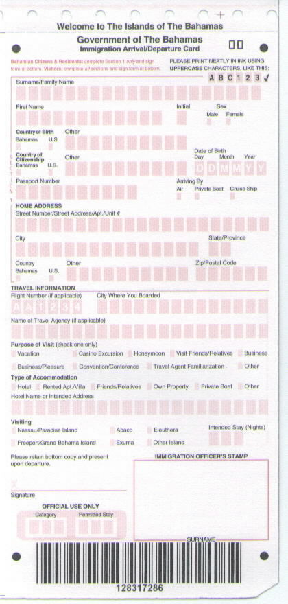 Bahamas_Immigration_Card
